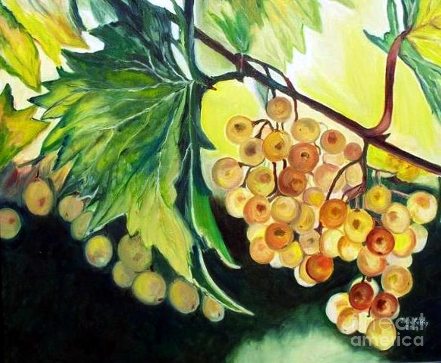 Golden Grapes Painting  - Golden Grapes Fine Art Print