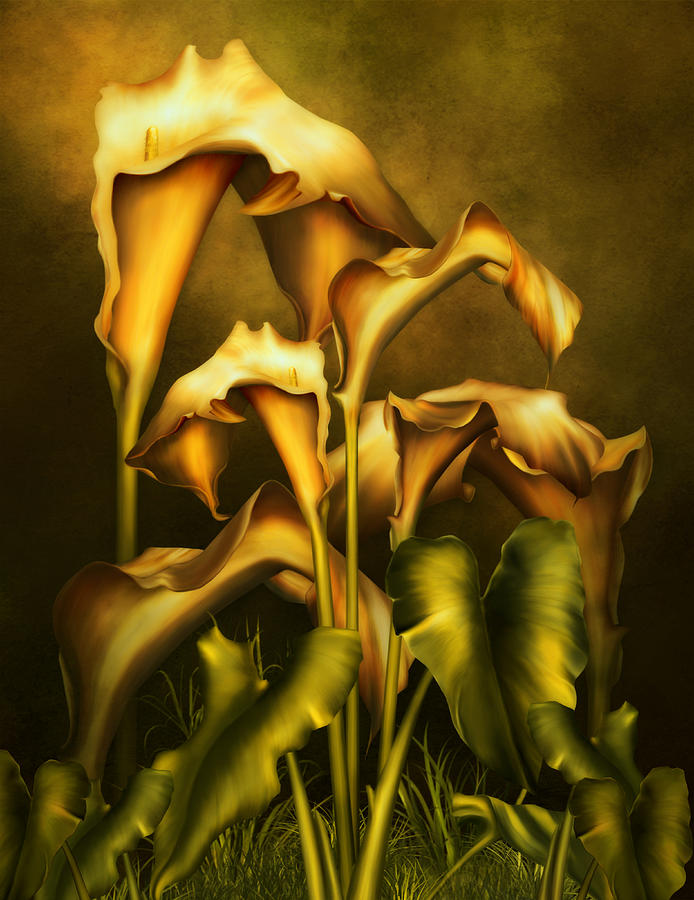 Golden Lilies By Night Mixed Media