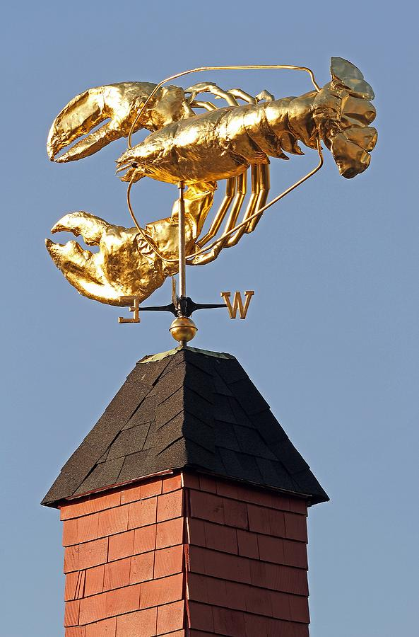 Golden Lobster Weathervane Photograph  - Golden Lobster Weathervane Fine Art Print