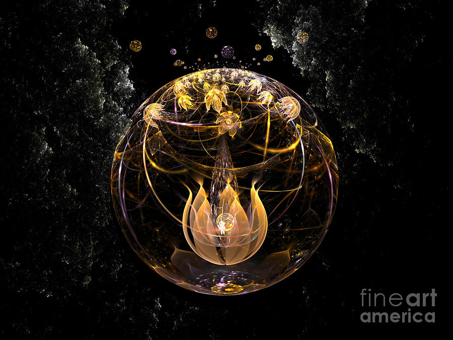 Golden Lotus In Deep Space Digital Art  - Golden Lotus In Deep Space Fine Art Print