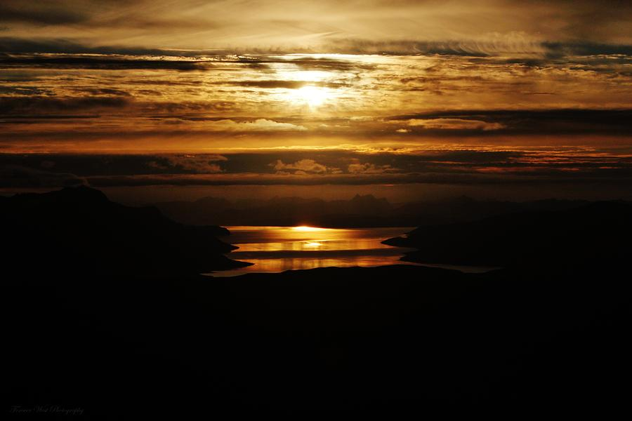 Norway Photograph - Golden Norse Fjordland Sunset by David Broome