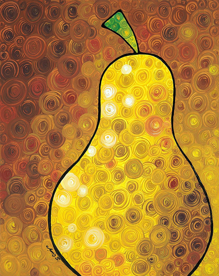 Golden Pear Painting  - Golden Pear Fine Art Print