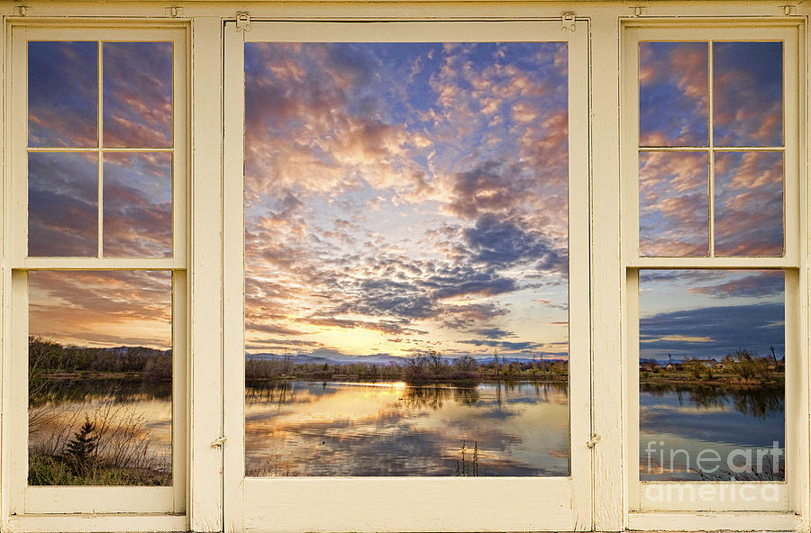 Golden Ponds Scenic Sunset Reflections 4 Yellow Window View Photograph