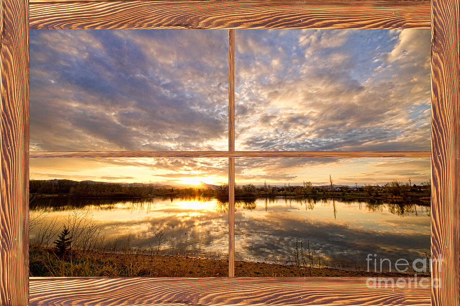 Golden Ponds Sunset Reflections  Barn Wood Picture Window View Photograph