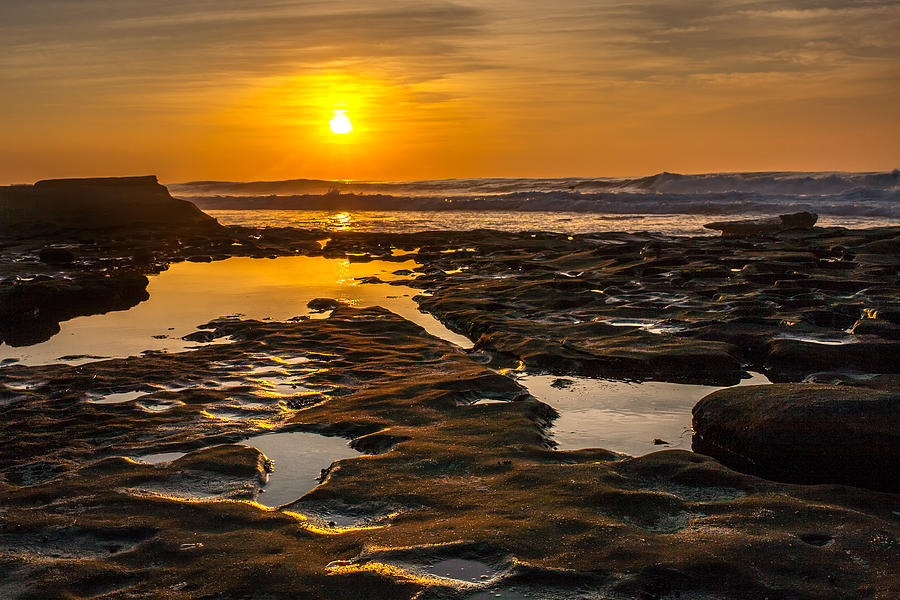 Beach Photograph - Golden Pools by Peter Tellone