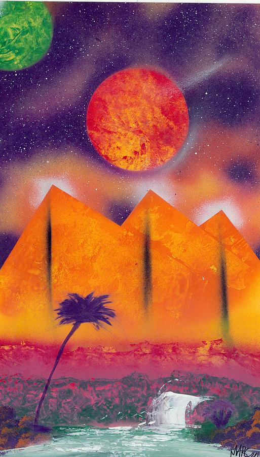 Golden Pyramid Sunrise Painting