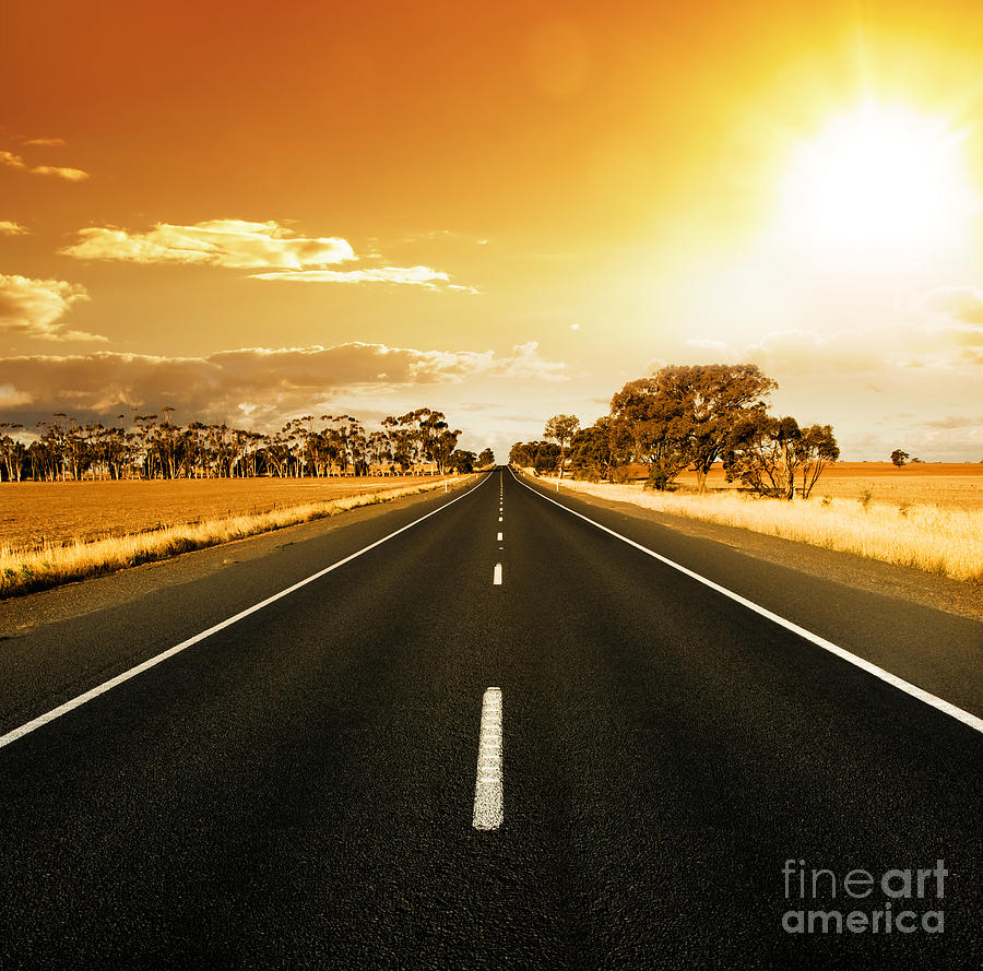 Golden Sky And Road Photograph  - Golden Sky And Road Fine Art Print