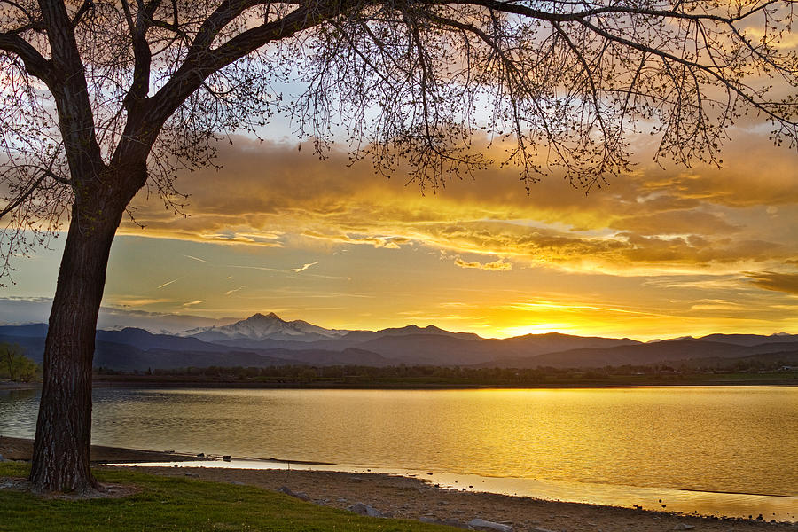 Golden Spring Time Twin Peaks Sunset View Photograph  - Golden Spring Time Twin Peaks Sunset View Fine Art Print