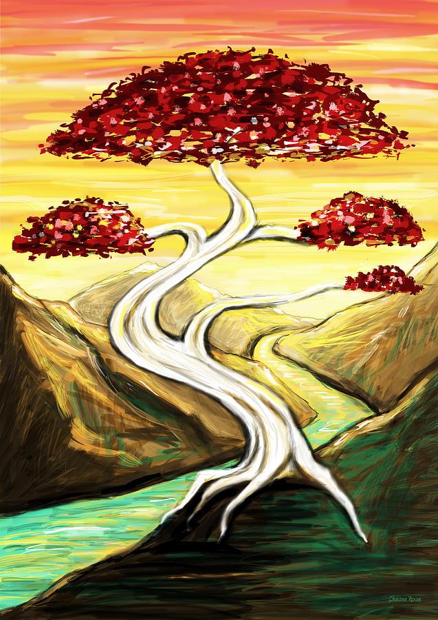 Bonsai Drawing - Golden Sunrise by Shawna  Rowe