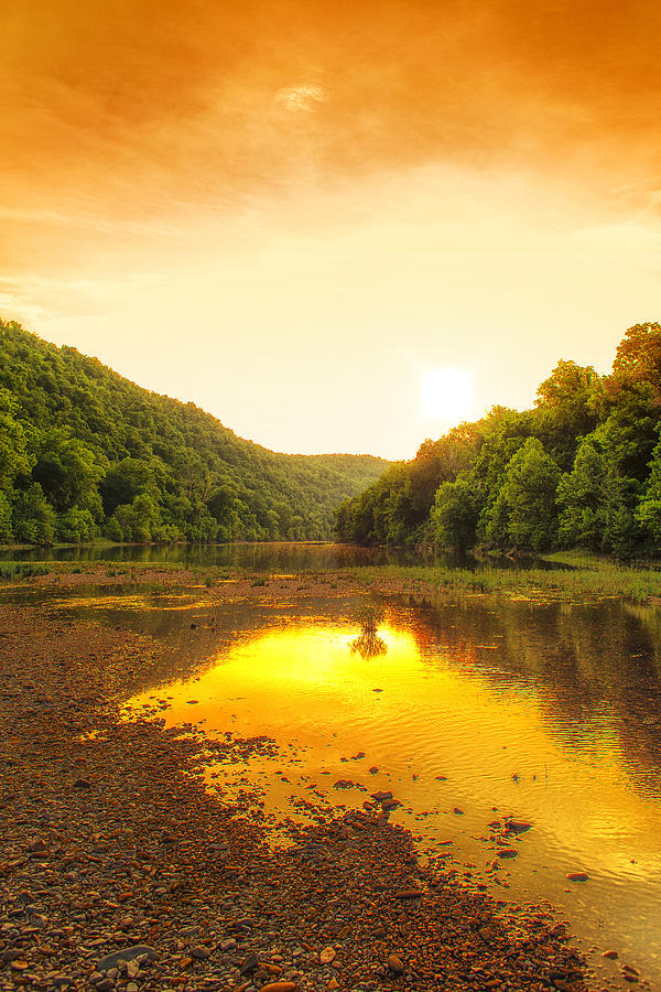 Golden Sunset On Buffalo River Photograph  - Golden Sunset On Buffalo River Fine Art Print