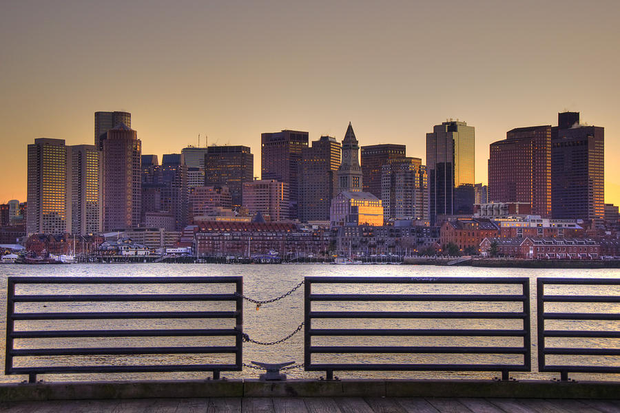 Boston Photograph - Golden Sunset Over Boston by Joann Vitali