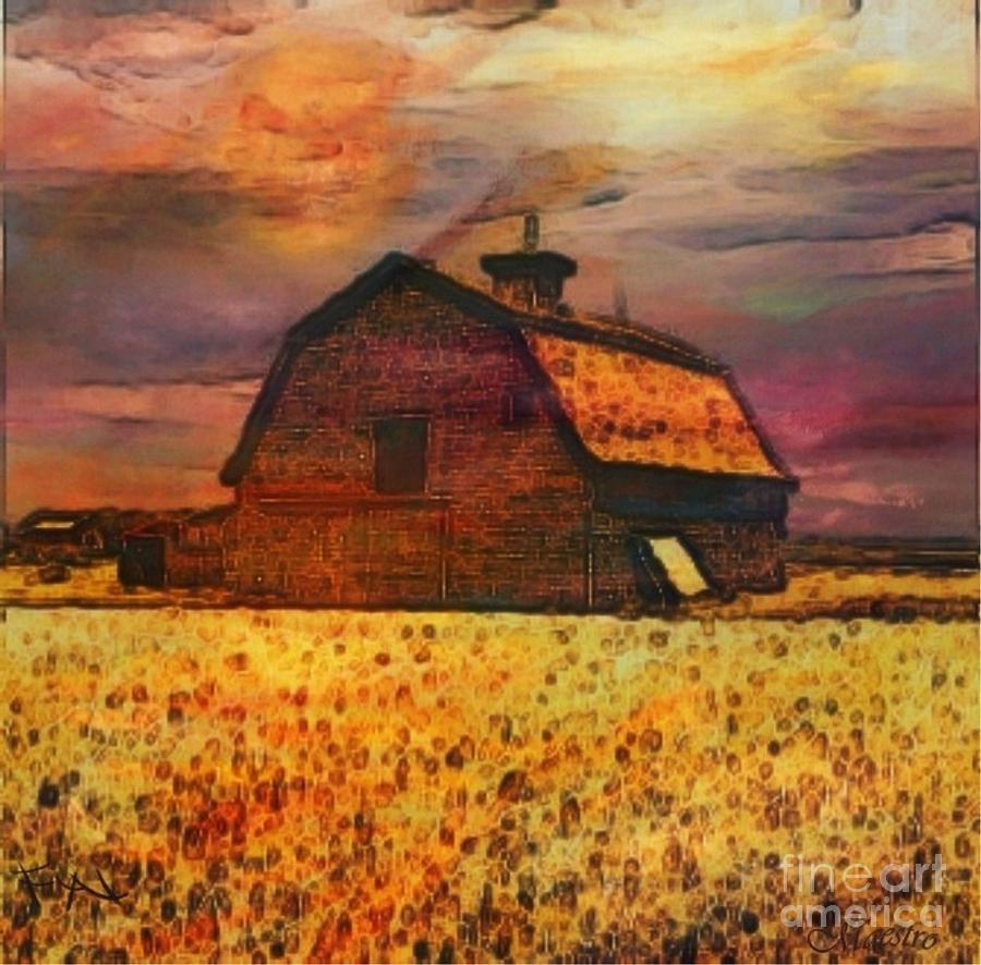Golden Wheat Sunset Barn Painting  - Golden Wheat Sunset Barn Fine Art Print