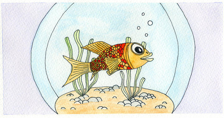 Goldfish Mixed Media - Goldfish In Bowl by Dan  Orapello