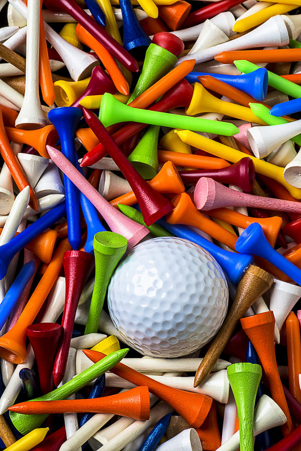 Golf Ball Photograph - Golf Ball And Tees by Garry Gay