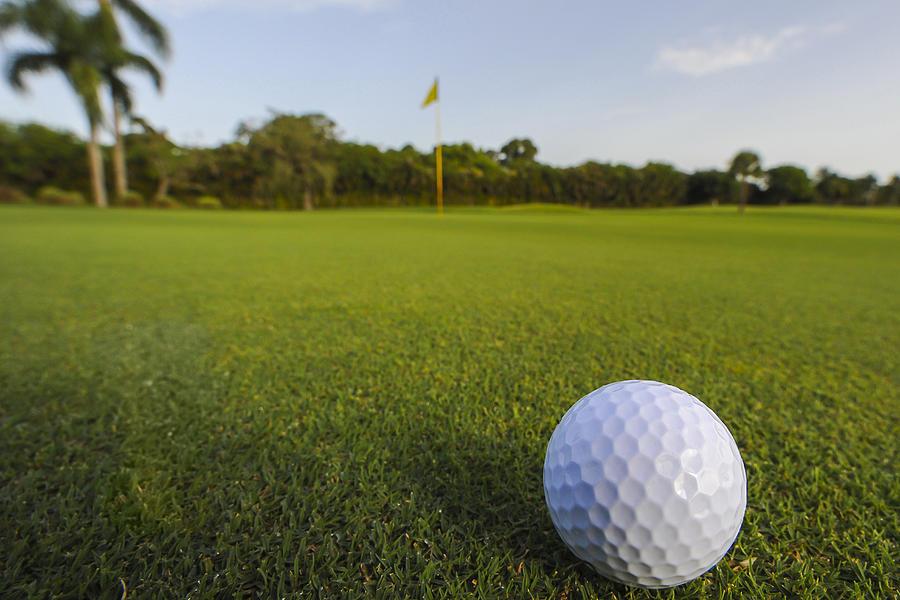 Golf Ball On Golf Course Photograph