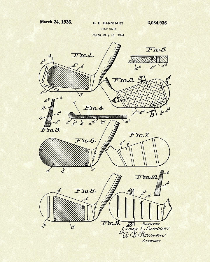 Golf Club 1936 Patent Art Drawing  - Golf Club 1936 Patent Art Fine Art Print