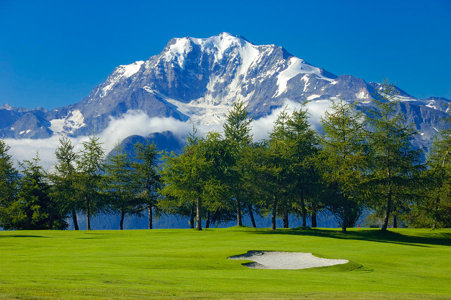 Golf Course In The Mountains Riederalp Swiss Alps