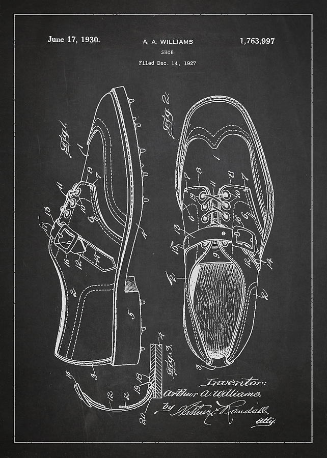 Golf Shoe Drawing - Golf Shoe Patent Drawing From 1927 by Aged Pixel