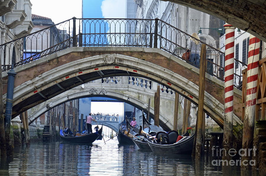Gondolas And Bridges On Canal Photograph  - Gondolas And Bridges On Canal Fine Art Print