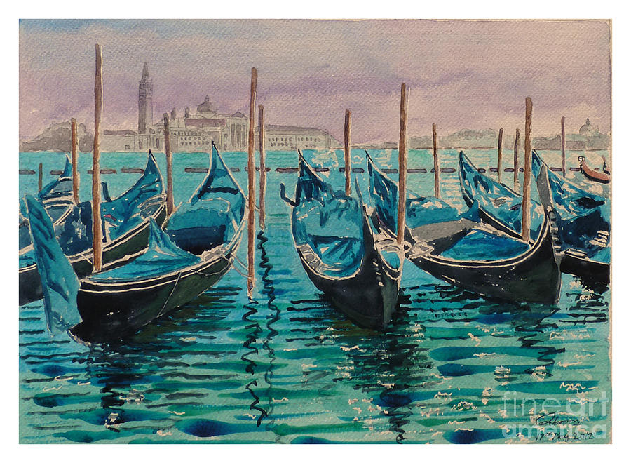 Gondolas At The Pier Venice Painting
