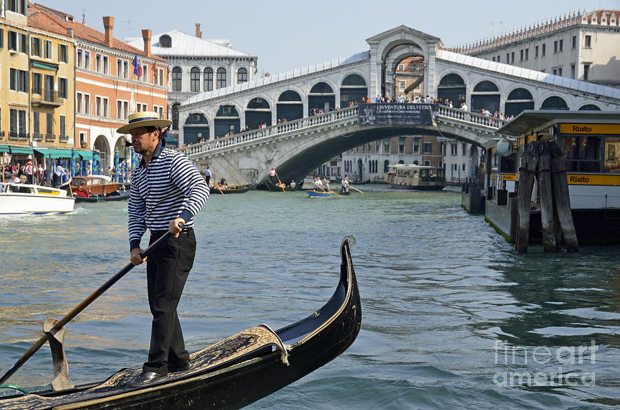 Gondolier On Gondola By Rialto Bridge Photograph