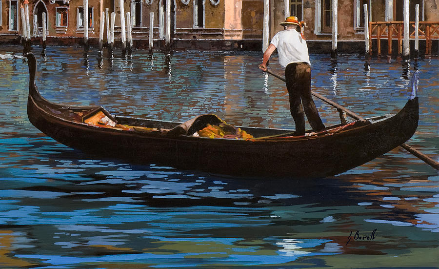 Gondoliere Sul Canale Painting