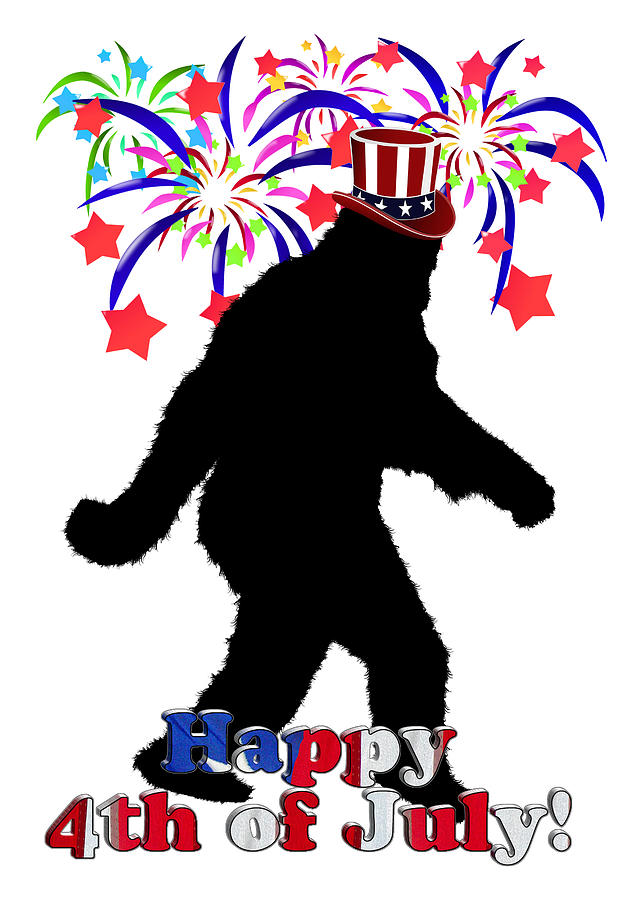Gone Squatchin - 4th Of July Digital Art  - Gone Squatchin - 4th Of July Fine Art Print