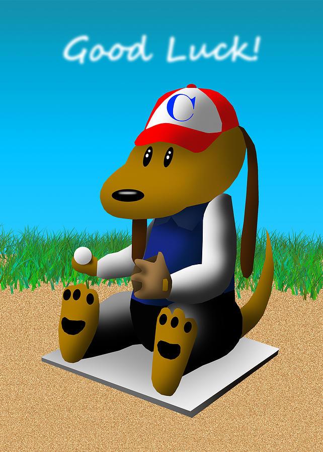 Good Luck Drawing - Good Luck Baseball Dog by Jeanette K