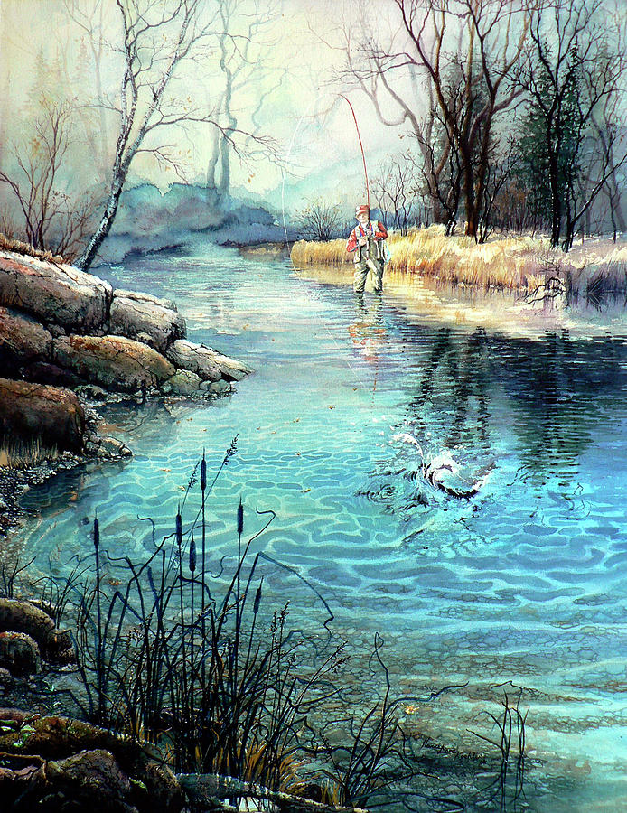 Fly Fishing Painting - Gotcha by Hanne Lore Koehler