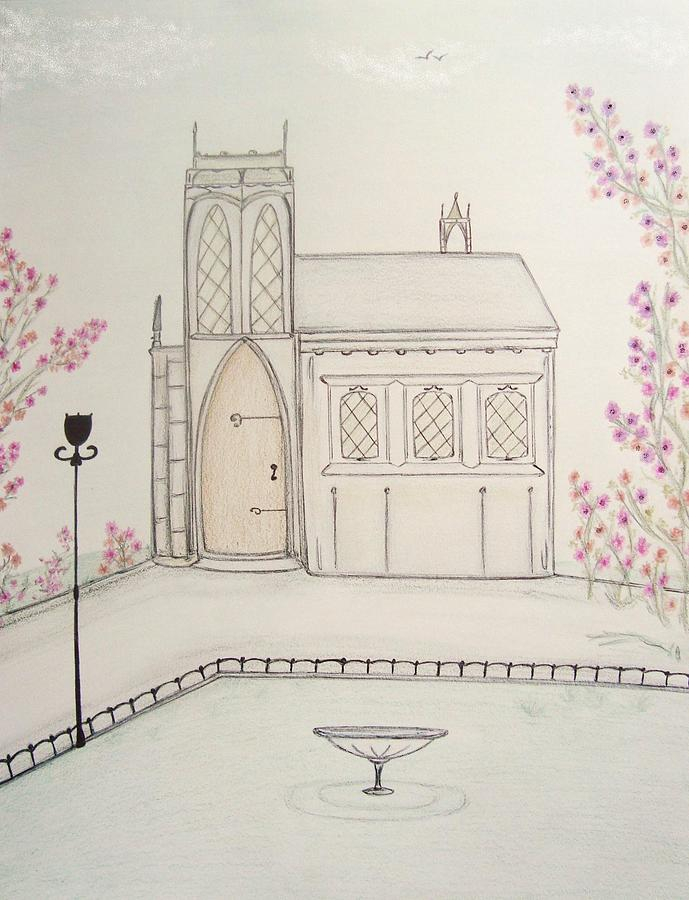 Gothic Library In Spring Drawing  - Gothic Library In Spring Fine Art Print