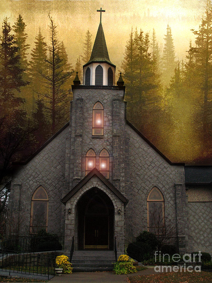 Gothic Old Church Autumn Forest Woodlands Photograph