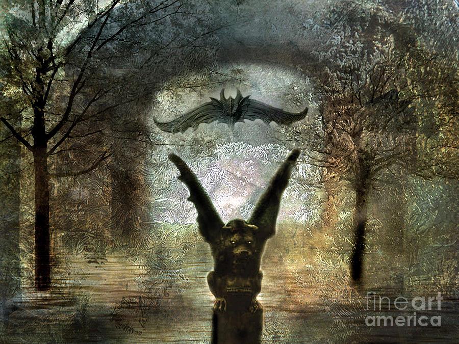 Gothic Surreal Fantasy Spooky Gargoyles  Photograph