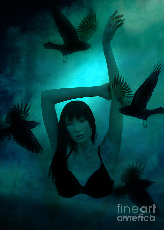 Gothic Surreal Ravens With Asian Girl  Photograph