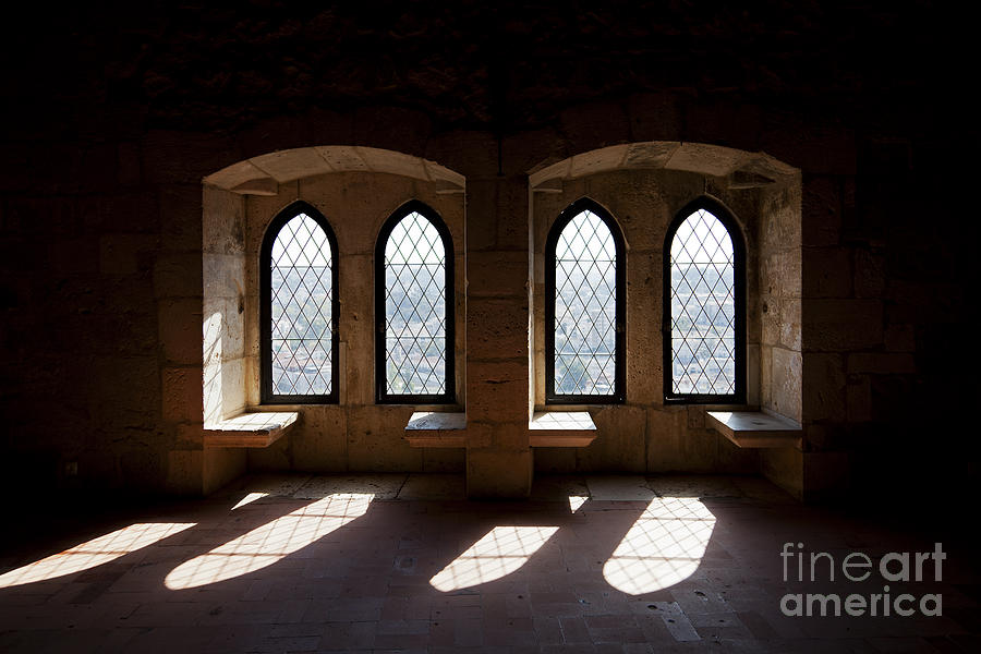 Gothic Windows Of The Royal Residence In The Leiria Castle Photograph