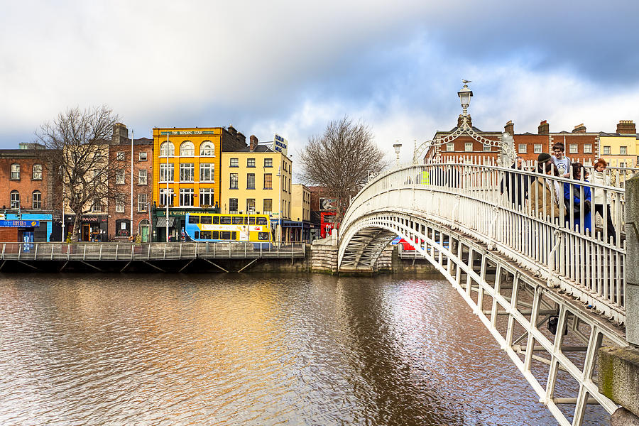 Graceful Hapenny Bridge Over River Liffey Photograph  - Graceful Hapenny Bridge Over River Liffey Fine Art Print