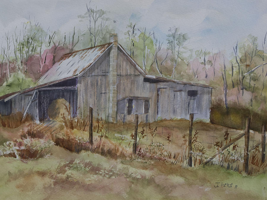 Watercolor Painting - Gradys Barn by Janet Felts