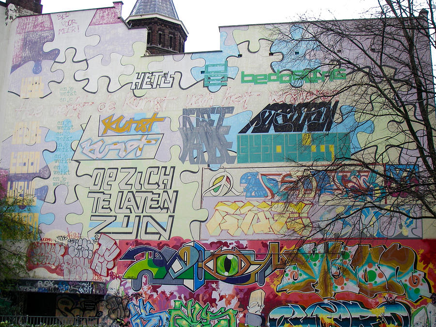 Graffiti Local Neighborhood Amsterdam Netherlands Photograph