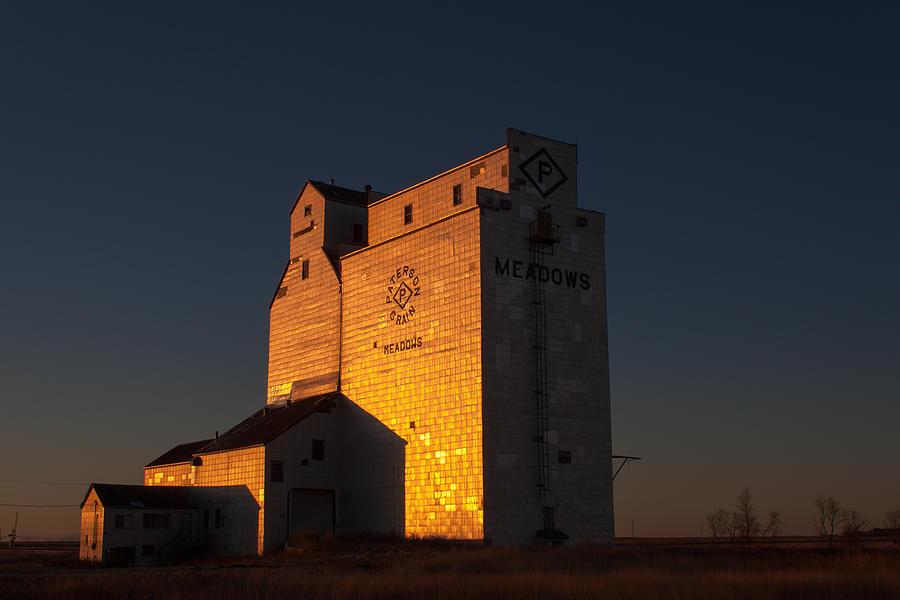 Grain Photograph - Sunset Grain Elevator At Meadows by Steve Boyko