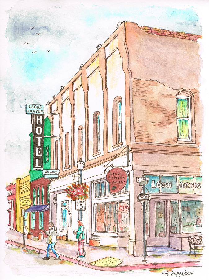 Grand Canyon Hotel And Local Artist Store, Route 66, Williams, Arizona Painting
