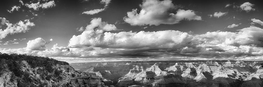 Grand Canyon Mather Point In Black  And White Photograph