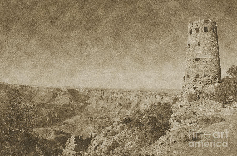 Grand Canyon National Park Mary Colter Designed Desert View Watchtower Vintage Digital Art  - Grand Canyon National Park Mary Colter Designed Desert View Watchtower Vintage Fine Art Print