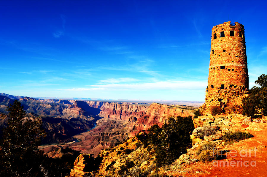 Grand Canyon National Park Mary Colter Designed Desert View Watchtower Vivid Photograph  - Grand Canyon National Park Mary Colter Designed Desert View Watchtower Vivid Fine Art Print