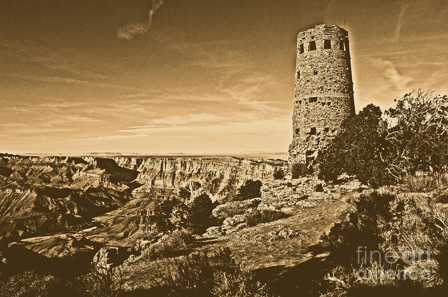 Grand Canyon National Park South Rim Mary Colter Designed Desert View Watchtower Rustic Digital Art  - Grand Canyon National Park South Rim Mary Colter Designed Desert View Watchtower Rustic Fine Art Print
