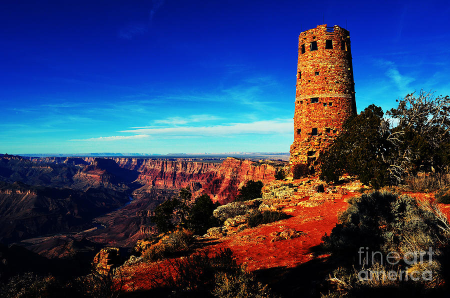 Grand Canyon National Park South Rim Mary Colter Designed Desert View Watchtower Vivid Digital Art  - Grand Canyon National Park South Rim Mary Colter Designed Desert View Watchtower Vivid Fine Art Print