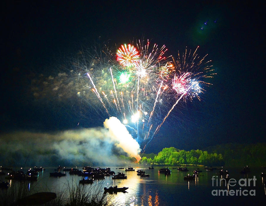 Grand Finale Of Fireworks Over The Lake2 Photograph  - Grand Finale Of Fireworks Over The Lake2 Fine Art Print