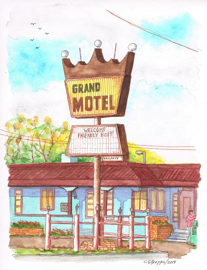 Grand Motel In Route 66, Williams, Arizona Painting