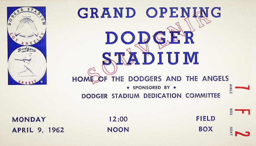 Grand Opening Dodger Stadium Ticket Stub 1962 Photograph  - Grand Opening Dodger Stadium Ticket Stub 1962 Fine Art Print