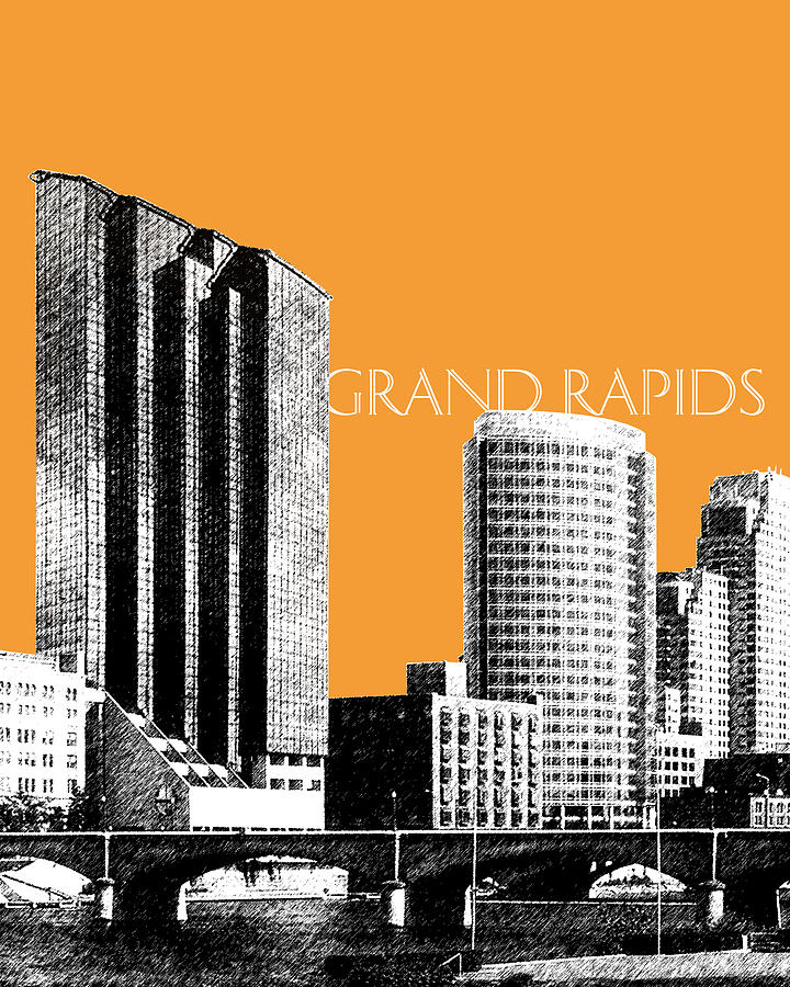 Grand Rapids Skyline - Orange Digital Art