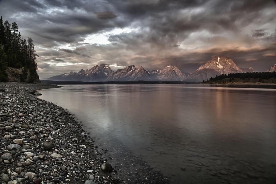 Grand Teton Mountain Range In  Grey And Pink Morning Sunlight Photograph