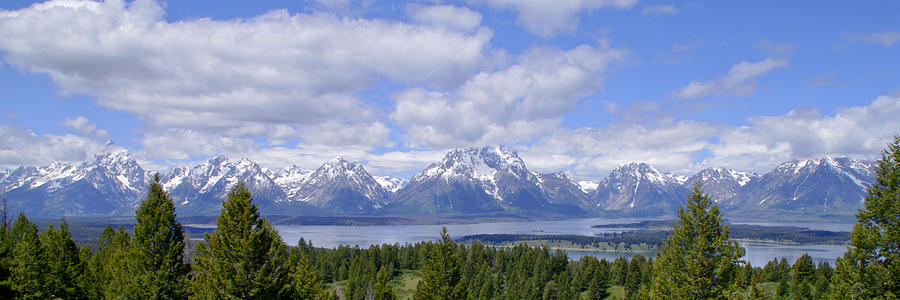 Grand Tetons Over Jackson Lake Panorama 2 Photograph  - Grand Tetons Over Jackson Lake Panorama 2 Fine Art Print